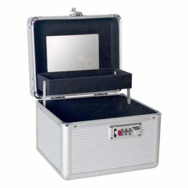 Aluminium make up opbergkoffer met 2 vakken 20 x 18 x 17 cm