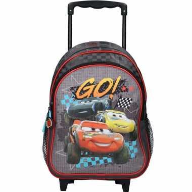 Disney cars zwarte trolley/reiskoffer rugtas voor kinderen