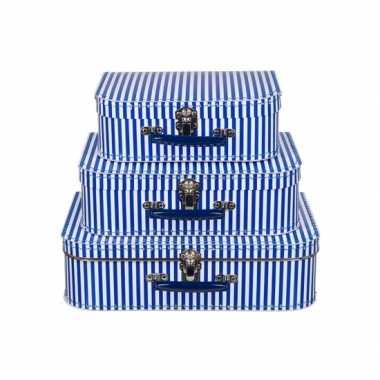 Kinderkoffertje blauw met witte strepen 25 cm