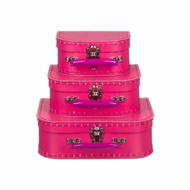 Kinderkoffertje fuchsia roze 20 cm