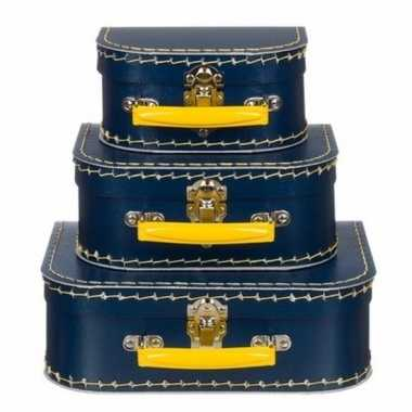 Kinderkoffertje navy/geel 20 cm