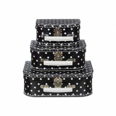 Kinderkoffertje zwart met witte stippen 16 cm