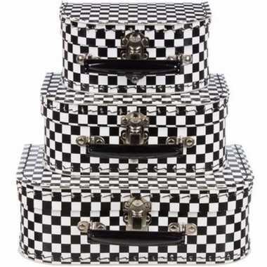 Kinderkoffertje zwart wit 16 cm geblokt