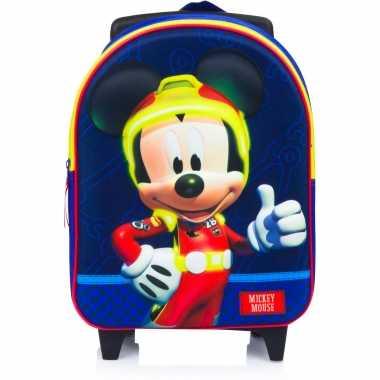 Mickey mouse trolley/reiskoffer/rugtas blauw 31 cm voor jongens