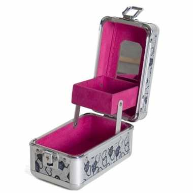 Roze mini make up opbergkoffer met hartjes 9 x 16 x 14 cm