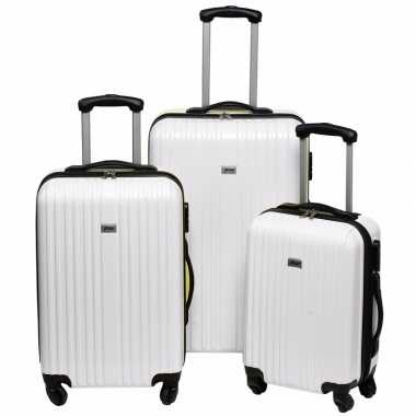 Witte grote reiskoffer 66 cm