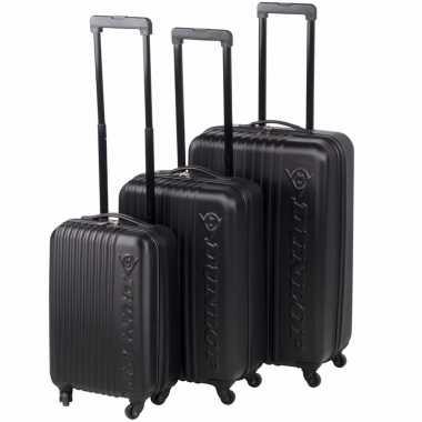 Zwarte dunlop grote reiskoffer 65 cm