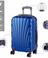 Cabine trolley koffer met zwenkwielen 33 liter blauw 10296519