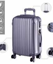 Cabine trolley koffer met zwenkwielen 33 liter zilver 10296520