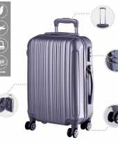 Cabine trolley koffer met zwenkwielen 33 liter zilver 10296523