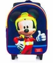 Mickey mouse trolley reiskoffer rugtas blauw 31 cm voor jongens